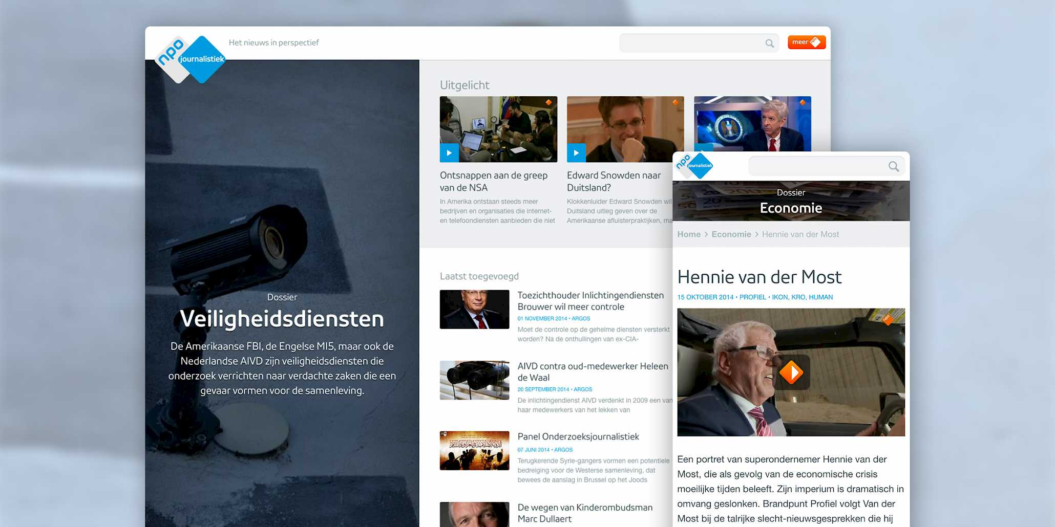 NPO Journalistiek homepage on desktop and article view on mobile