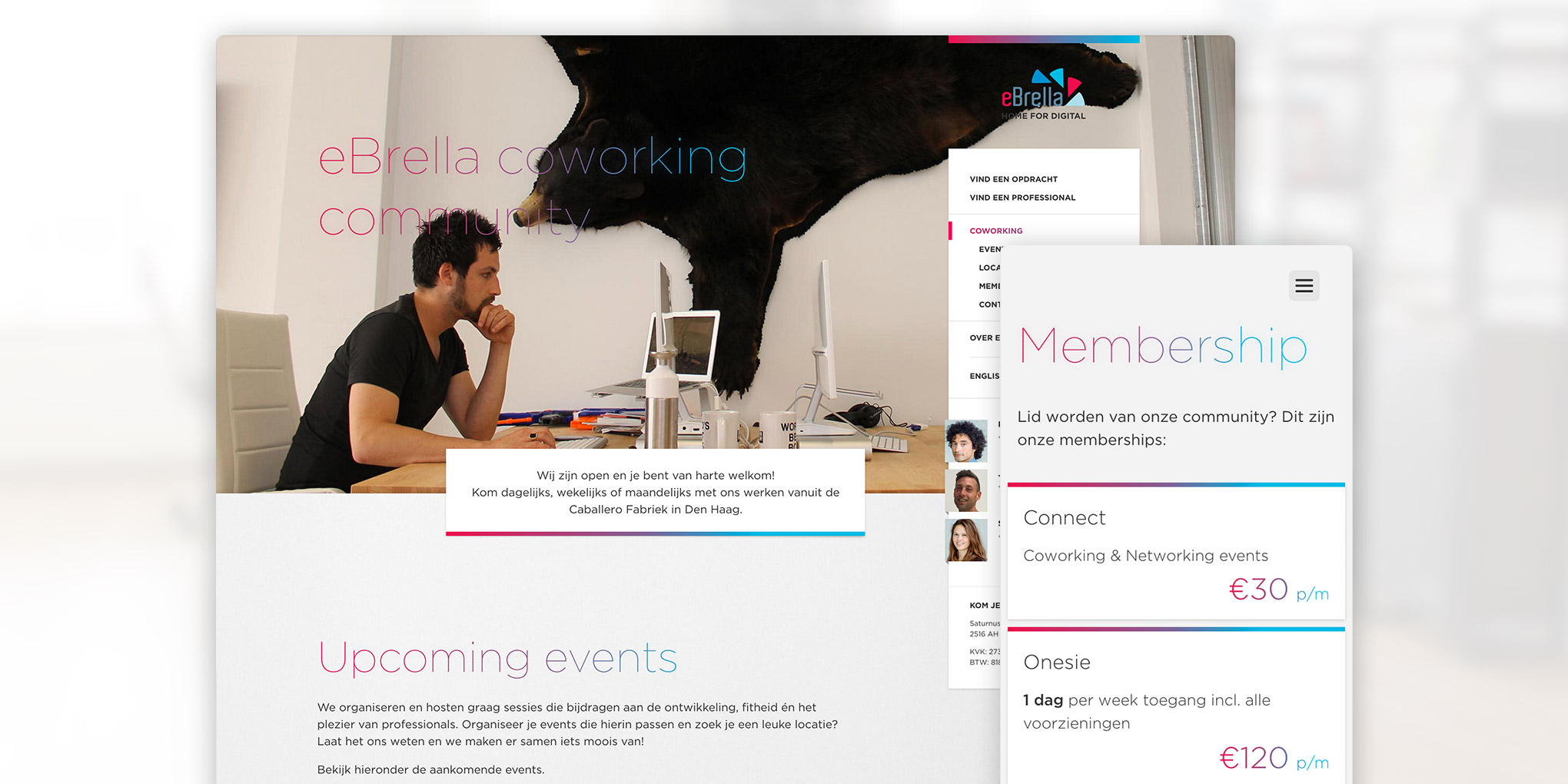 eBrella coworking site layout. A responsive single-page design promoting their workspace